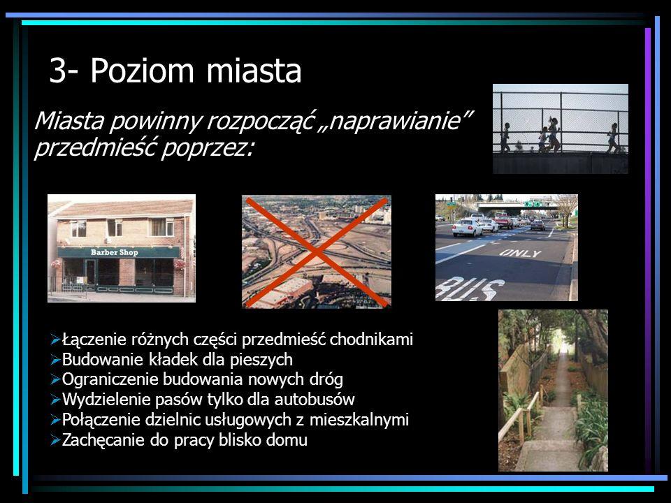 3- Poziom miasta Miasta powinny rozpocząć naprawianie przedmieść poprzez: Łączenie różnych części przedmieść chodnikami Budowanie kładek dla pieszych