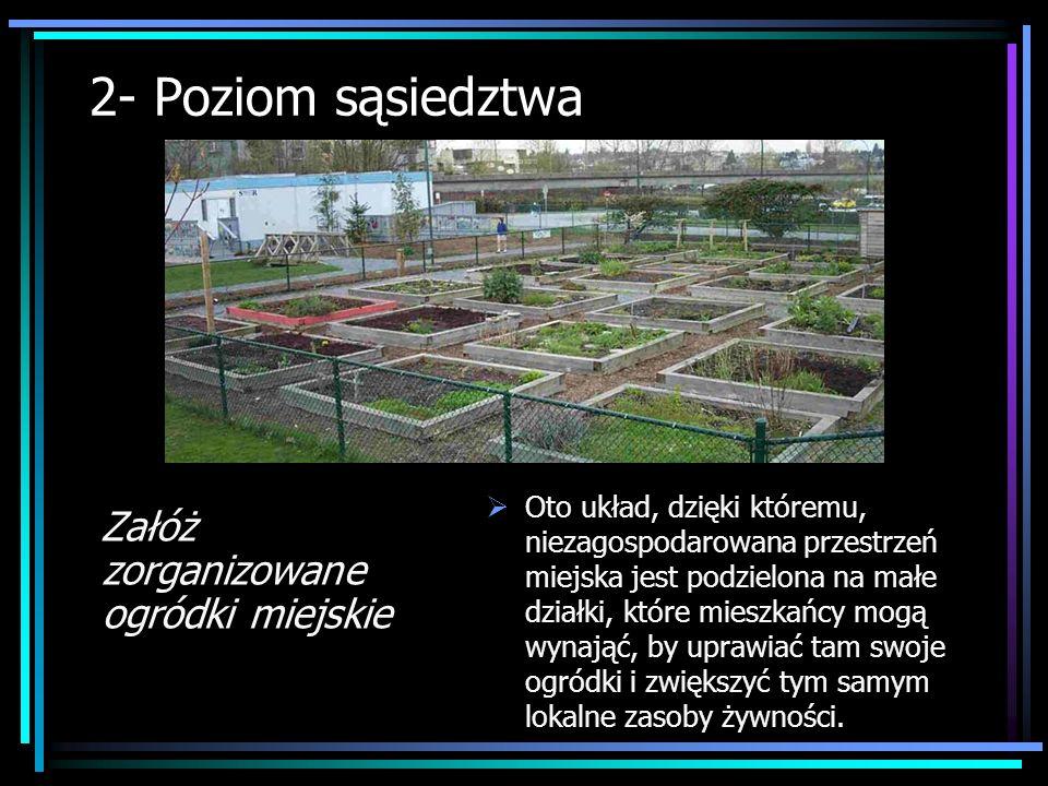 2- Poziom sąsiedztwa Załóż zorganizowane ogródki miejskie Oto układ, dzięki któremu, niezagospodarowana przestrzeń miejska jest podzielona na małe dzi