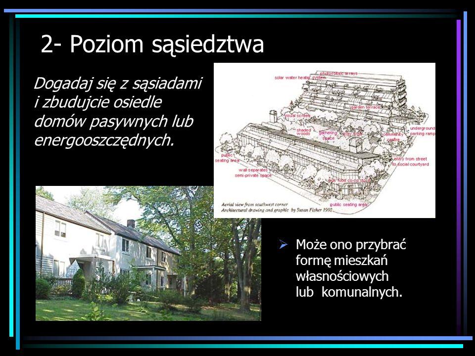 2- Poziom sąsiedztwa Dogadaj się z sąsiadami i zbudujcie osiedle domów pasywnych lub energooszczędnych. Może ono przybrać formę mieszkań własnościowyc
