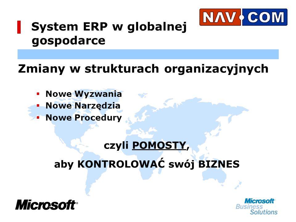 System ERP w globalnej gospodarce Zmiany w strukturach organizacyjnych Nowe Wyzwania Nowe Narzędzia Nowe Procedury czyli POMOSTY, aby KONTROLOWAĆ swój BIZNES