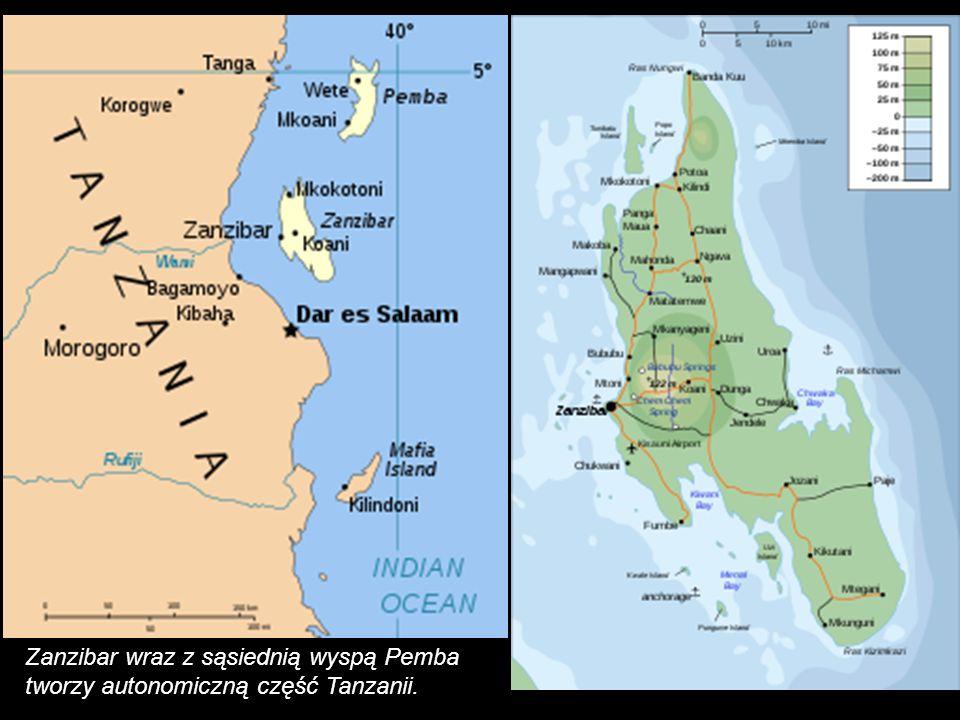Zanzibar – wyspa na Oceanie Indyjskim. Należy do Tanzanii (podmiot federacji). Powierzchnia 1658 km². Liczne plantacje goździkowca i palmy kokosowej.
