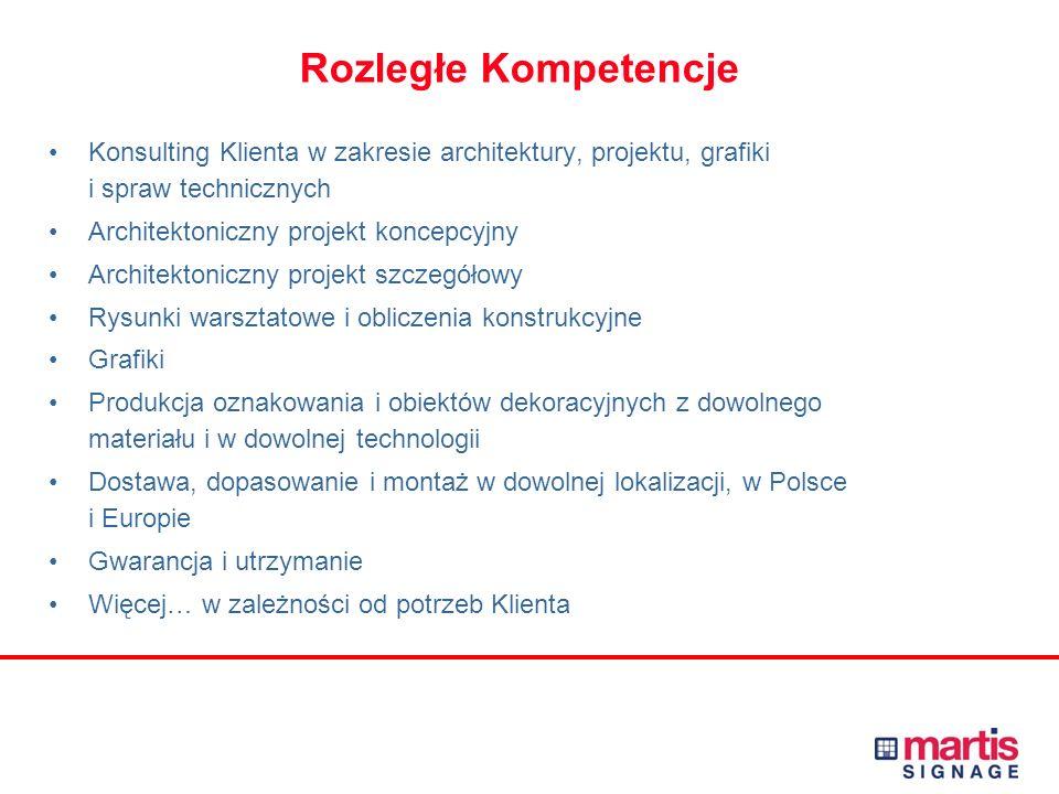 Rozległe Kompetencje Konsulting Klienta w zakresie architektury, projektu, grafiki i spraw technicznych Architektoniczny projekt koncepcyjny Architektoniczny projekt szczegółowy Rysunki warsztatowe i obliczenia konstrukcyjne Grafiki Produkcja oznakowania i obiektów dekoracyjnych z dowolnego materiału i w dowolnej technologii Dostawa, dopasowanie i montaż w dowolnej lokalizacji, w Polsce i Europie Gwarancja i utrzymanie Więcej… w zależności od potrzeb Klienta