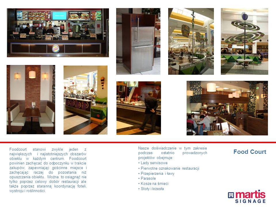 Food Court Foodcourt stanowi zwykle jeden z największych i najistotniejszych obszarów obiektu w każdym centrum.