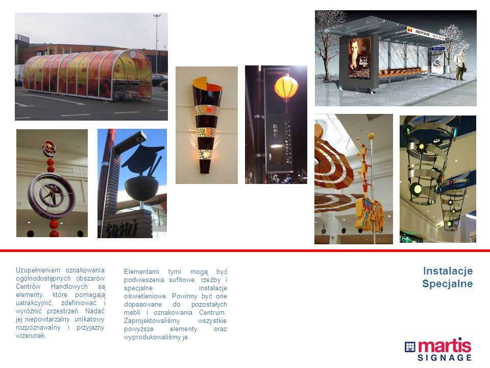 Instalacje Specjalne Uzupełnieniem oznakowania ogólnodostępnych obszarów Centrów Handlowych są elementy, które pomagają uatrakcyjnić, zdefiniować i wyróżnić przestrzeń.