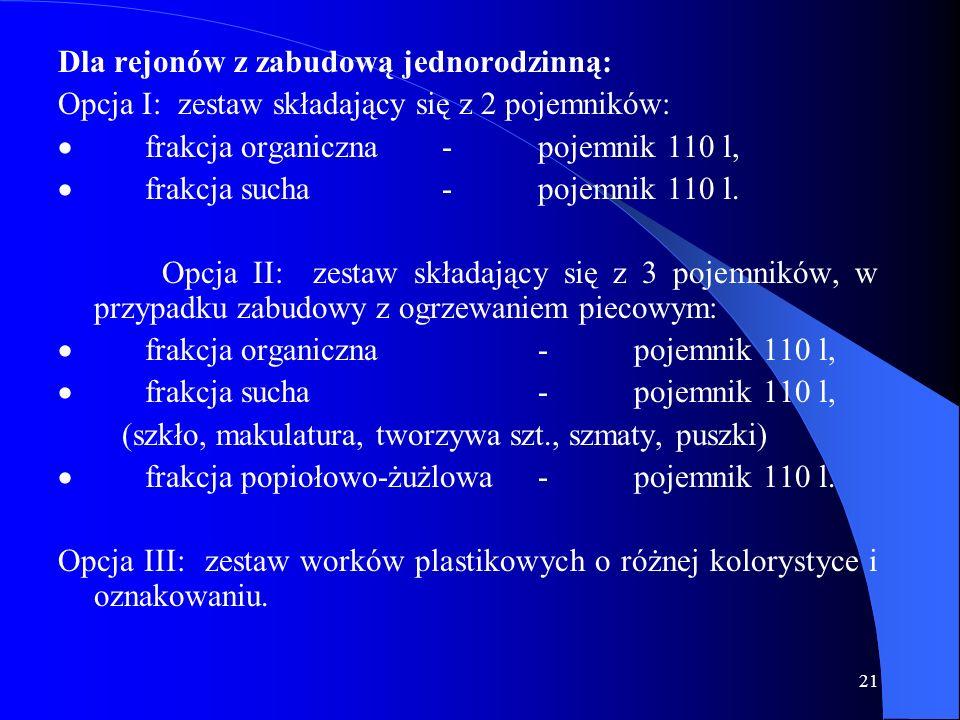 21 Dla rejonów z zabudową jednorodzinną: Opcja I: zestaw składający się z 2 pojemników: frakcja organiczna-pojemnik 110 l, frakcja sucha-pojemnik 110