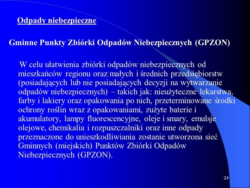 24 Odpady niebezpieczne Gminne Punkty Zbiórki Odpadów Niebezpiecznych (GPZON) W celu ułatwienia zbiórki odpadów niebezpiecznych od mieszkańców regionu