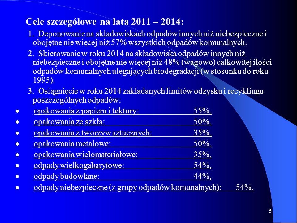 5 Cele szczegółowe na lata 2011 – 2014: 1. Deponowanie na składowiskach odpadów innych niż niebezpieczne i obojętne nie więcej niż 57% wszystkich odpa