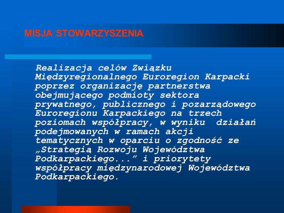 MISJA STOWARZYSZENIA Realizacja celów Związku Międzyregionalnego Euroregion Karpacki poprzez organizację partnerstwa obejmującego podmioty sektora pry