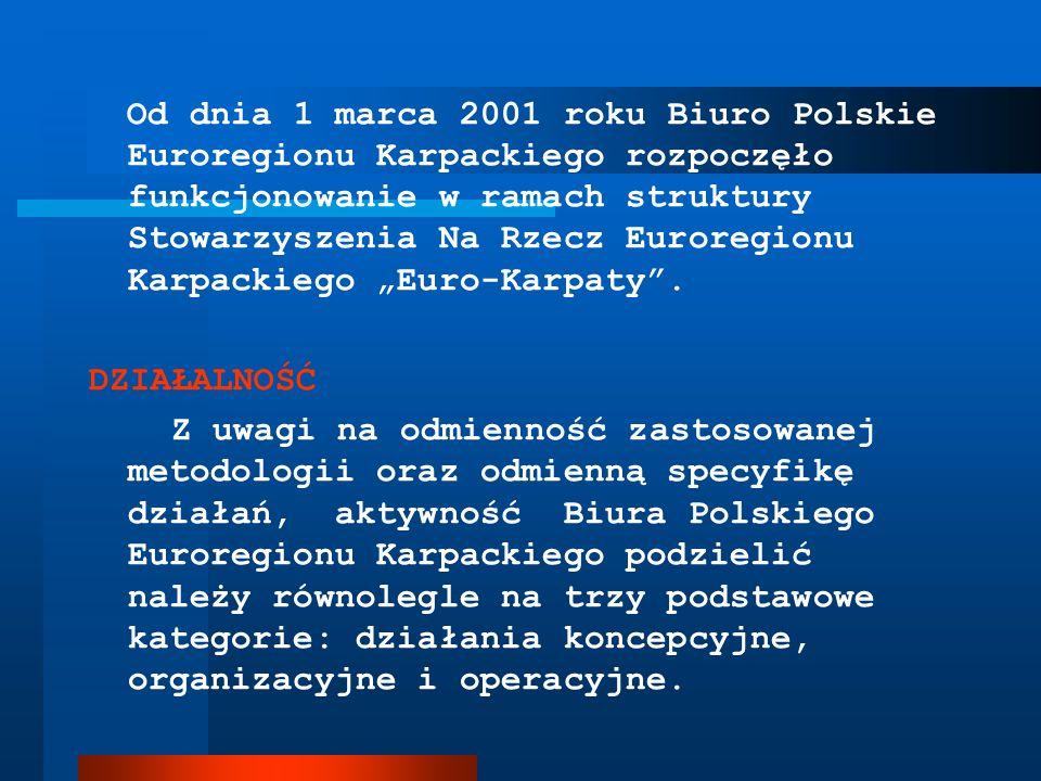 Od dnia 1 marca 2001 roku Biuro Polskie Euroregionu Karpackiego rozpoczęło funkcjonowanie w ramach struktury Stowarzyszenia Na Rzecz Euroregionu Karpa