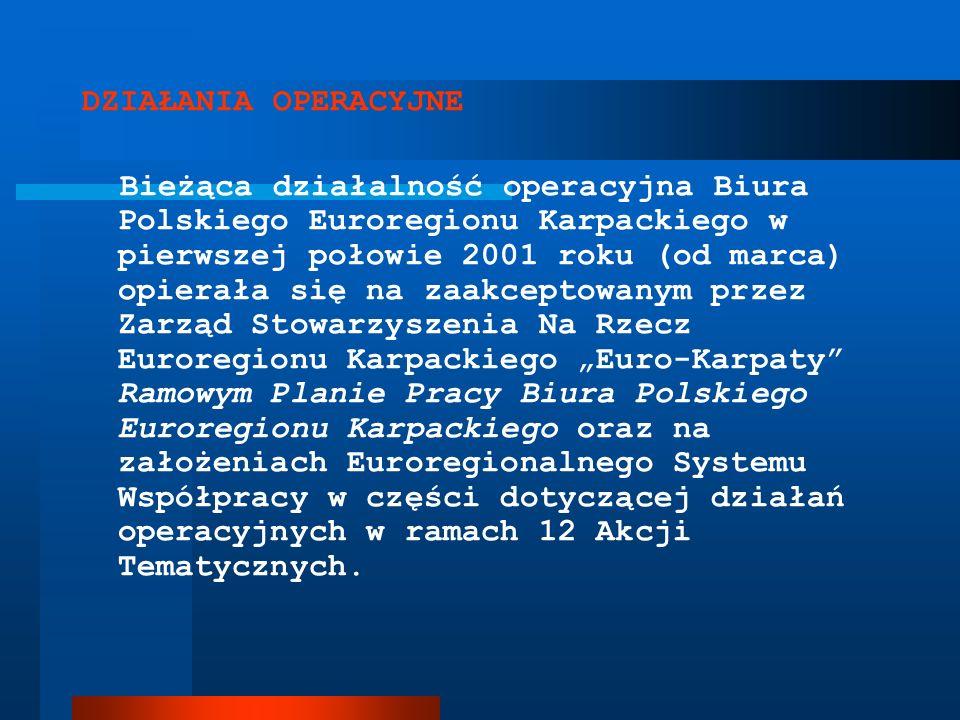 DZIAŁANIA OPERACYJNE Bieżąca działalność operacyjna Biura Polskiego Euroregionu Karpackiego w pierwszej połowie 2001 roku (od marca) opierała się na z