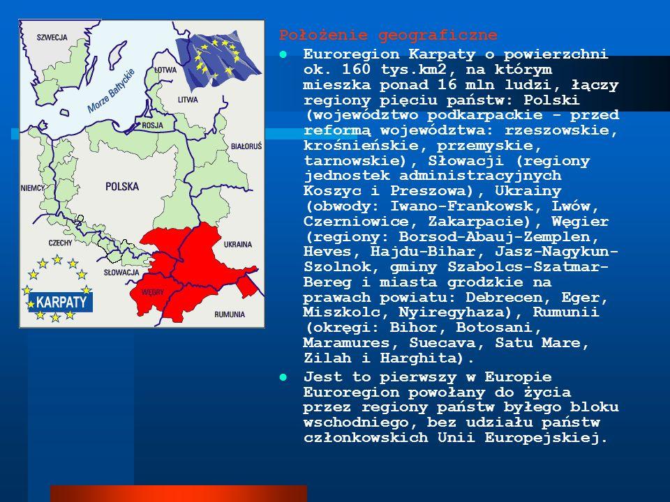 Położenie geograficzne Euroregion Karpaty o powierzchni ok. 160 tys.km2, na którym mieszka ponad 16 mln ludzi, łączy regiony pięciu państw: Polski (wo