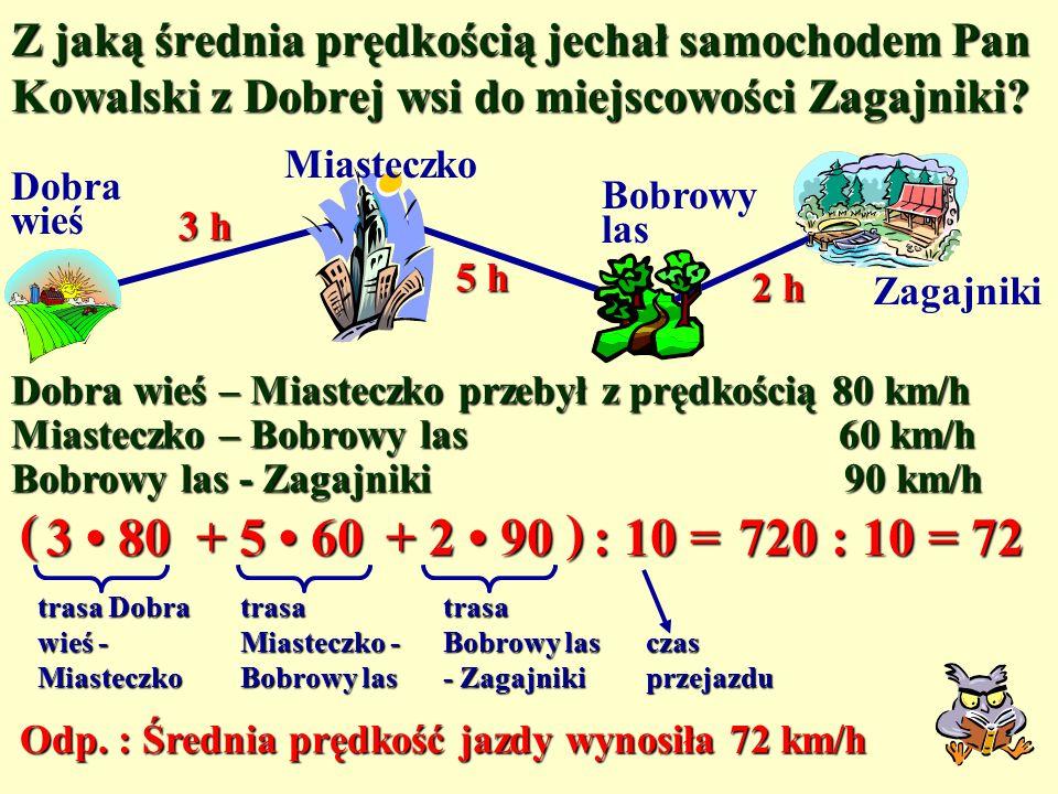 Z jaką średnia prędkością jechał samochodem Pan Kowalski z Dobrej wsi do miejscowości Zagajniki.