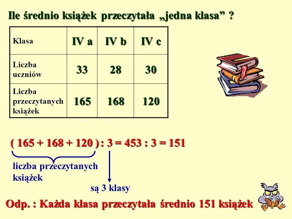 W tabeli przedstawione są ilości przeczytanych książek przez uczniów klas czwartych Klasa IV a IV b IV c Liczba uczniów332830 Liczba przeczytanych ksi