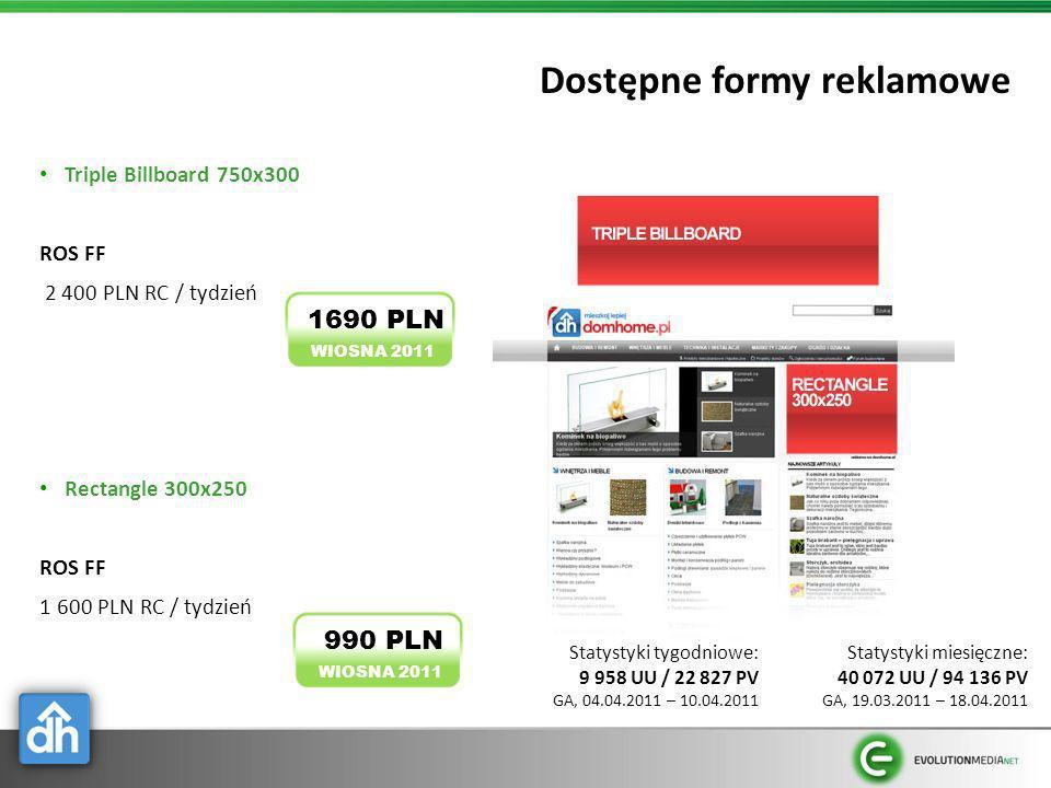 Dostępne formy reklamowe Triple Billboard 750x300 ROS FF 2 400 PLN RC / tydzień Rectangle 300x250 ROS FF 1 600 PLN RC / tydzień WIOSNA 2011 1690 PLN W