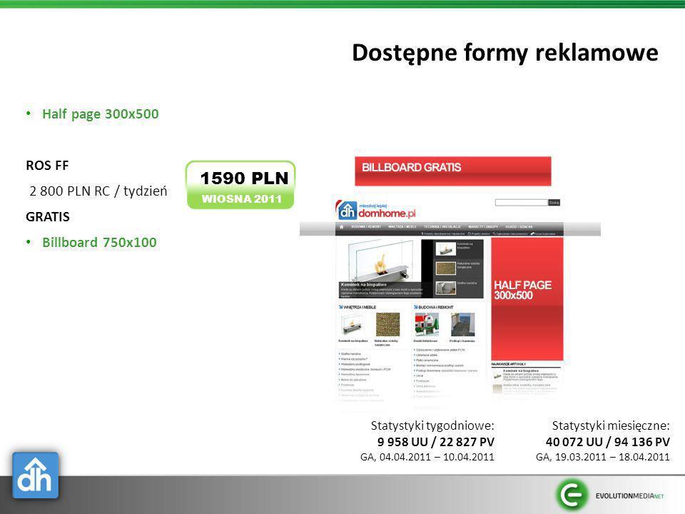 Dostępne formy reklamowe Half page 300x500 ROS FF 2 800 PLN RC / tydzień GRATIS Billboard 750x100 WIOSNA 2011 1590 PLN Statystyki miesięczne: 40 072 U