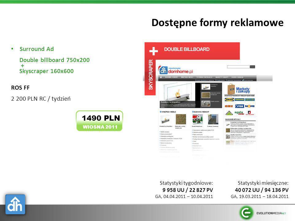Dostępne formy reklamowe Surround Ad Double billboard 750x200 + Skyscraper 160x600 ROS FF 2 200 PLN RC / tydzień WIOSNA 2011 1490 PLN Statystyki miesi