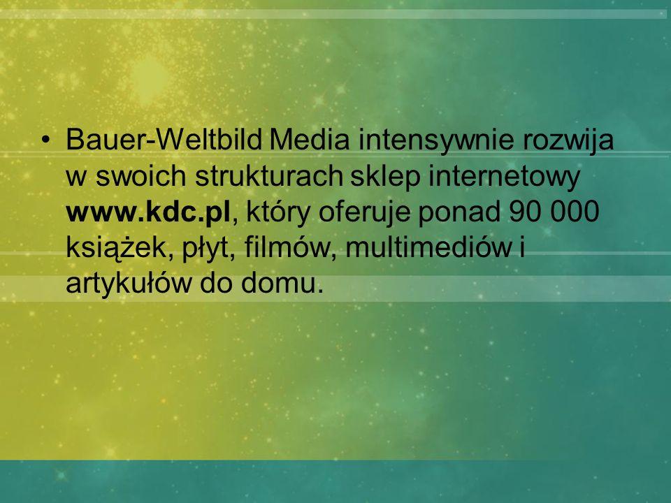 Bauer-Weltbild Media intensywnie rozwija w swoich strukturach sklep internetowy www.kdc.pl, który oferuje ponad 90 000 książek, płyt, filmów, multimed