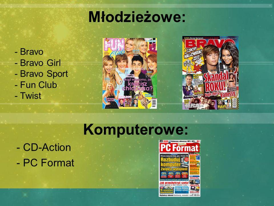Młodzieżowe: - Bravo - Bravo Girl - Bravo Sport - Fun Club - Twist Komputerowe: - CD-Action - PC Format