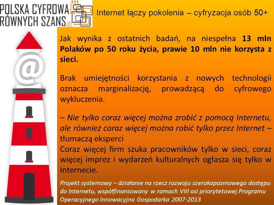Internet łączy pokolenia – cyfryzacja osób 50+ Projekt systemowy – działanie na rzecz rozwoju szerokopasmowego dostępu do Internetu, współfinansowany w ramach VIII osi priorytetowej Programu Operacyjnego Innowacyjna Gospodarka 2007-2013 Internet to też – czasem wyłączne – medium wsparcia działań społecznych, obywatelskich i konsumenckich.