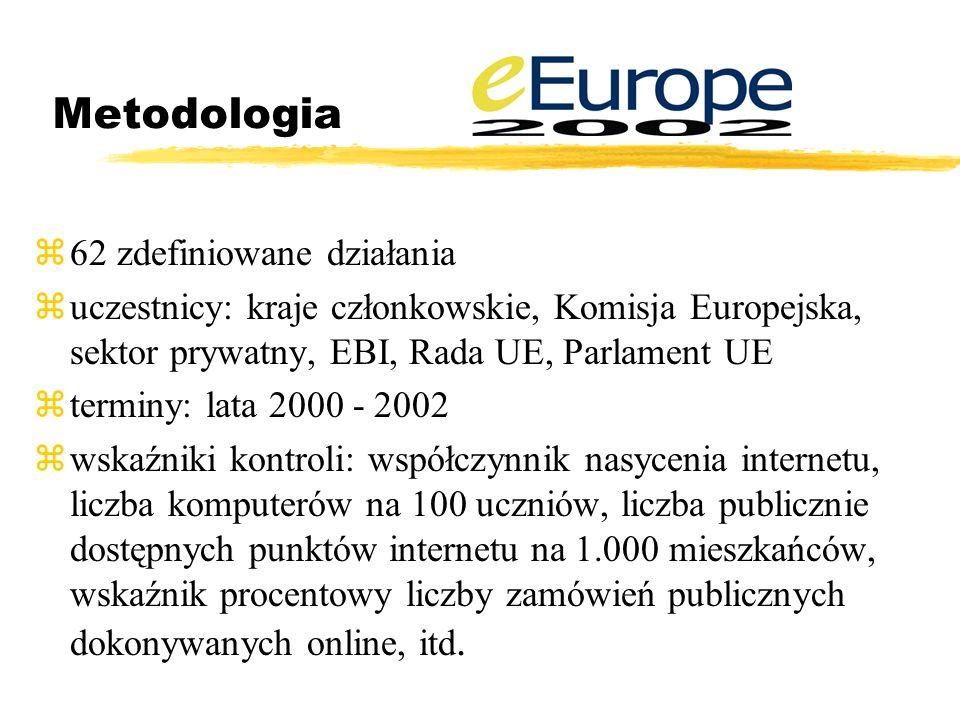 Metodologia z62 zdefiniowane działania zuczestnicy: kraje członkowskie, Komisja Europejska, sektor prywatny, EBI, Rada UE, Parlament UE zterminy: lata 2000 - 2002 zwskaźniki kontroli: współczynnik nasycenia internetu, liczba komputerów na 100 uczniów, liczba publicznie dostępnych punktów internetu na 1.000 mieszkańców, wskaźnik procentowy liczby zamówień publicznych dokonywanych online, itd.