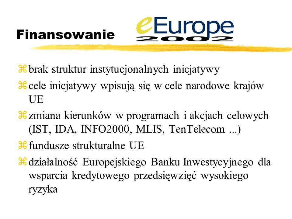 Finansowanie zbrak struktur instytucjonalnych inicjatywy zcele inicjatywy wpisują się w cele narodowe krajów UE zzmiana kierunków w programach i akcjach celowych (IST, IDA, INFO2000, MLIS, TenTelecom...) zfundusze strukturalne UE zdziałalność Europejskiego Banku Inwestycyjnego dla wsparcia kredytowego przedsięwzięć wysokiego ryzyka