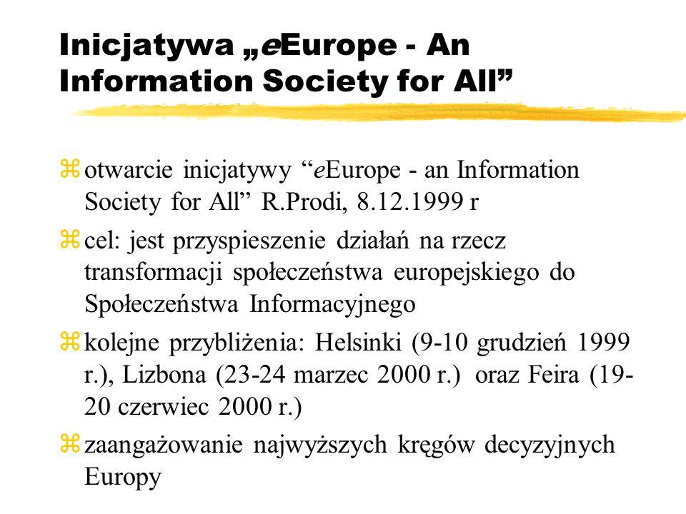 Inicjatywa eEurope - An Information Society for All zotwarcie inicjatywy eEurope - an Information Society for All R.Prodi, 8.12.1999 r zcel: jest przyspieszenie działań na rzecz transformacji społeczeństwa europejskiego do Społeczeństwa Informacyjnego zkolejne przybliżenia: Helsinki (9-10 grudzień 1999 r.), Lizbona (23-24 marzec 2000 r.) oraz Feira (19- 20 czerwiec 2000 r.) zzaangażowanie najwyższych kręgów decyzyjnych Europy