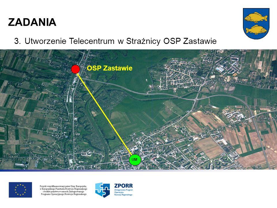 ZADANIA 3.Utworzenie Telecentrum w Strażnicy OSP Zastawie OSP Zastawie UM