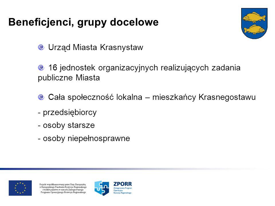 Beneficjenci, grupy docelowe Urząd Miasta Krasnystaw 16 jednostek organizacyjnych realizujących zadania publiczne Miasta Cała społeczność lokalna – mi