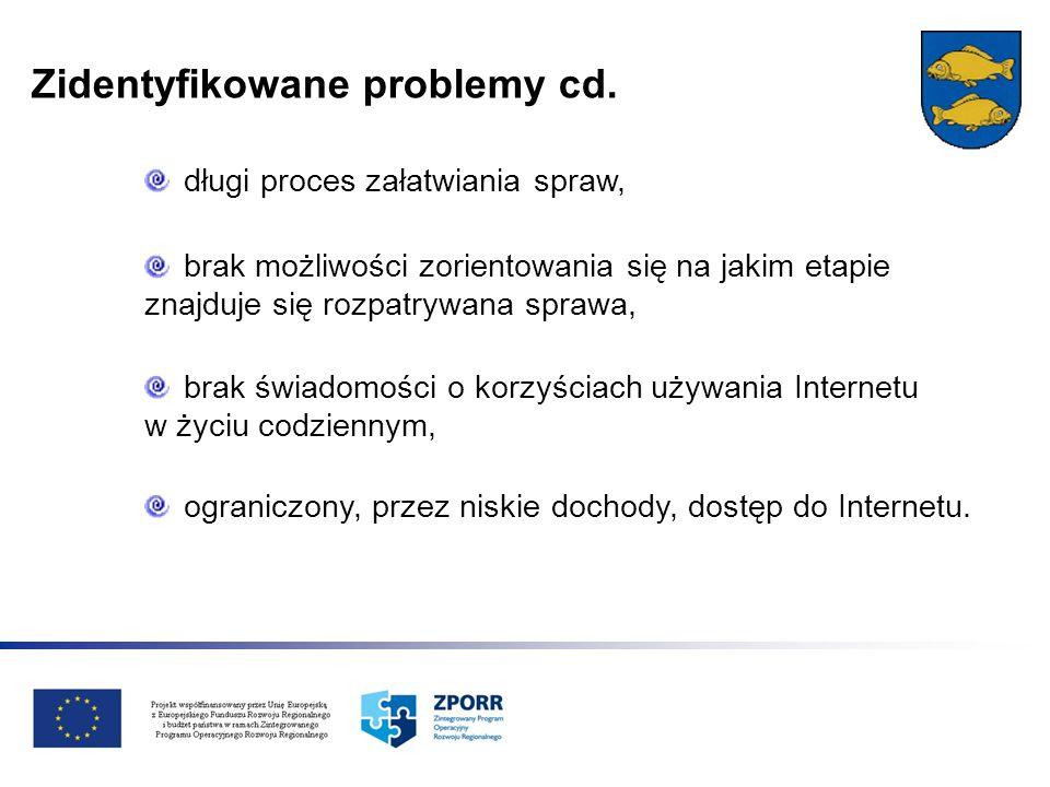 Zidentyfikowane problemy cd. brak świadomości o korzyściach używania Internetu w życiu codziennym, ograniczony, przez niskie dochody, dostęp do Intern