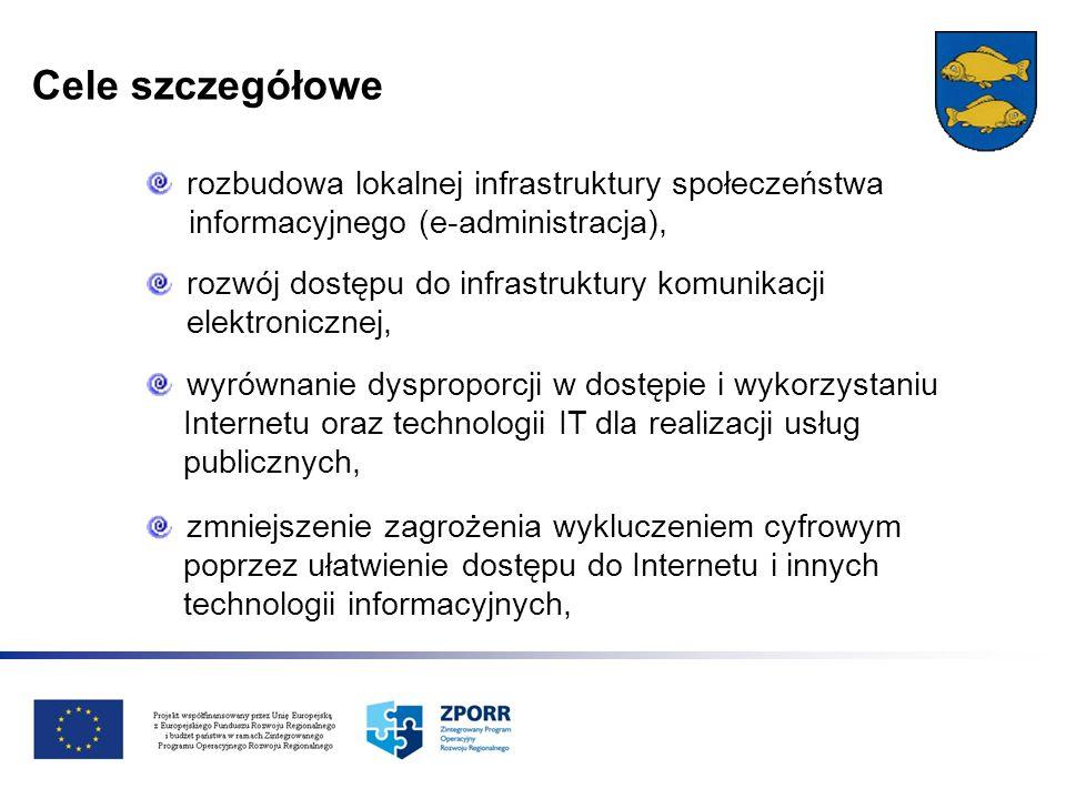 Cele szczegółowe rozbudowa lokalnej infrastruktury społeczeństwa informacyjnego (e-administracja), rozwój dostępu do infrastruktury komunikacji elektr