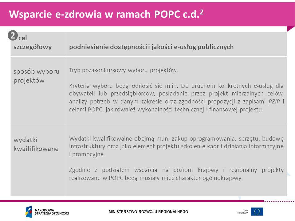 MINISTERSTWO ROZWOJU REGIONALNEGO Wsparcie e-zdrowia w ramach POPC c.d. 2 cel szczegółowypodniesienie dostępności i jakości e-usług publicznych sposób