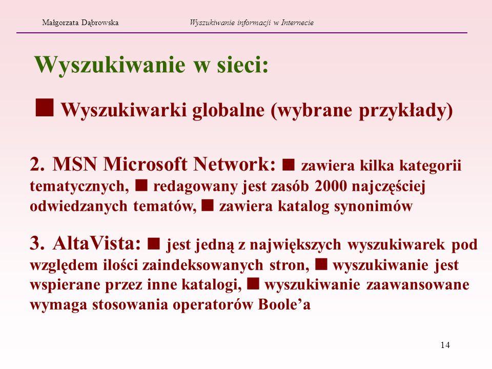 14 2. MSN Microsoft Network: zawiera kilka kategorii tematycznych, redagowany jest zasób 2000 najczęściej odwiedzanych tematów, zawiera katalog synoni