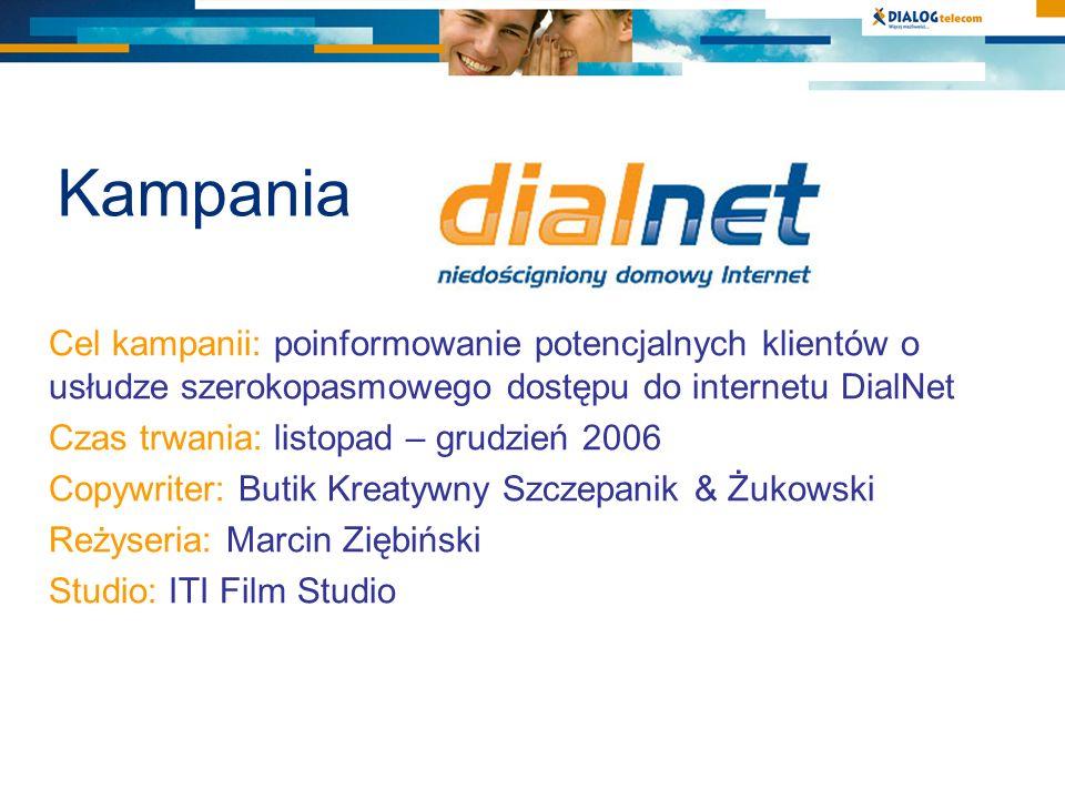 Kampania Cel kampanii: poinformowanie potencjalnych klientów o usłudze szerokopasmowego dostępu do internetu DialNet Czas trwania: listopad – grudzień