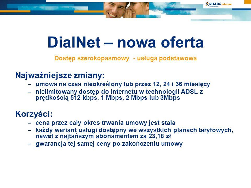 DialNet – nowa oferta Dostęp szerokopasmowy - usługa podstawowa Najważniejsze zmiany: –umowa na czas nieokreślony lub przez 12, 24 i 36 miesięcy –niel