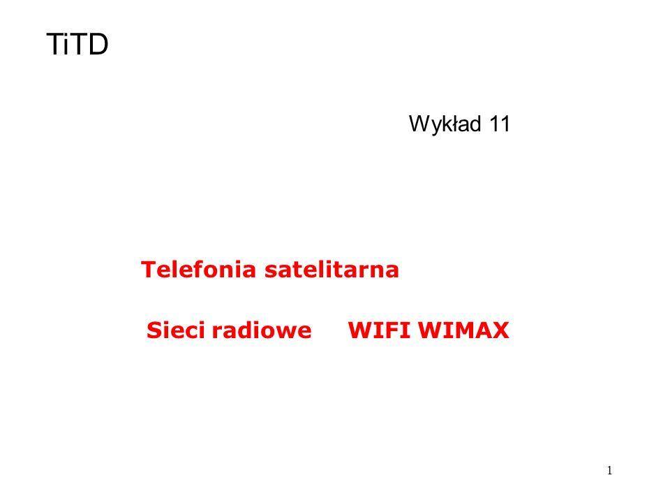 1 Wykład 11 Sieci radioweWIFI WIMAX Telefonia satelitarna TiTD