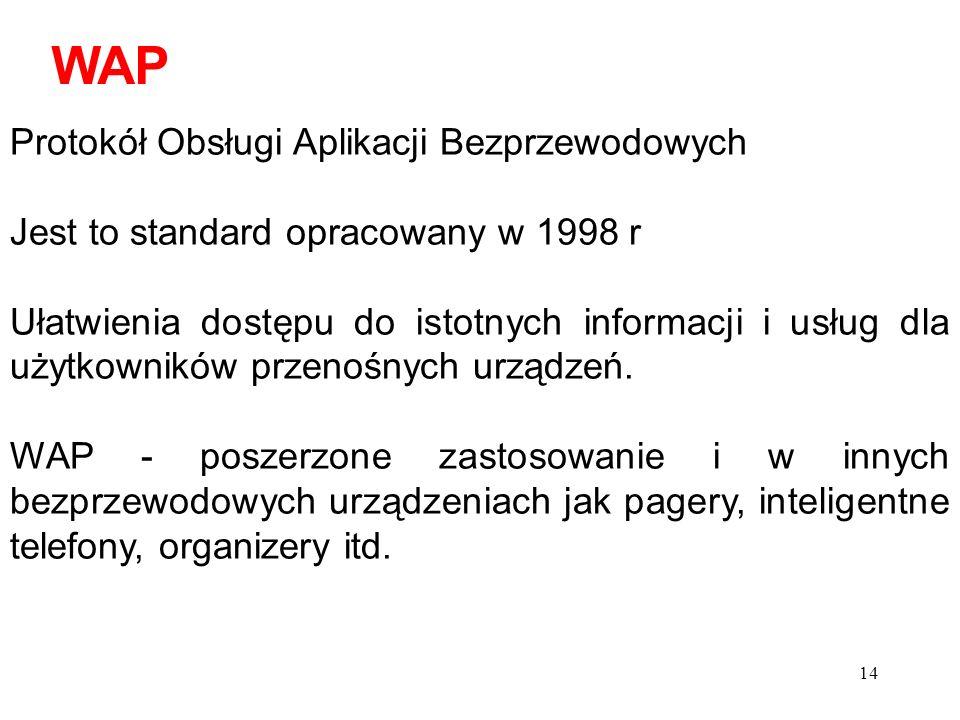 14 Protokół Obsługi Aplikacji Bezprzewodowych Jest to standard opracowany w 1998 r Ułatwienia dostępu do istotnych informacji i usług dla użytkowników