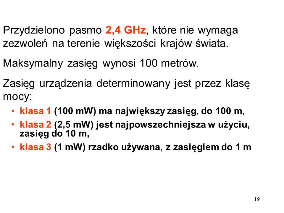 19 Przydzielono pasmo 2,4 GHz, które nie wymaga zezwoleń na terenie większości krajów świata. Maksymalny zasięg wynosi 100 metrów. Zasięg urządzenia d