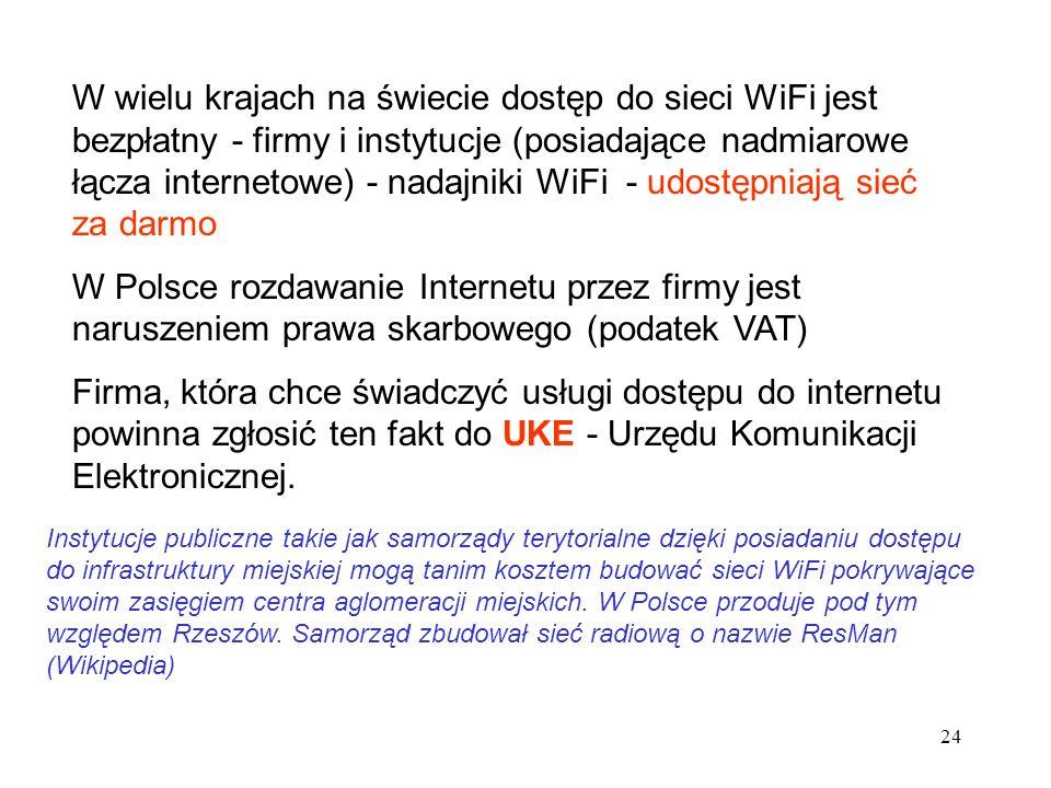 24 W wielu krajach na świecie dostęp do sieci WiFi jest bezpłatny - firmy i instytucje (posiadające nadmiarowe łącza internetowe) - nadajniki WiFi - u