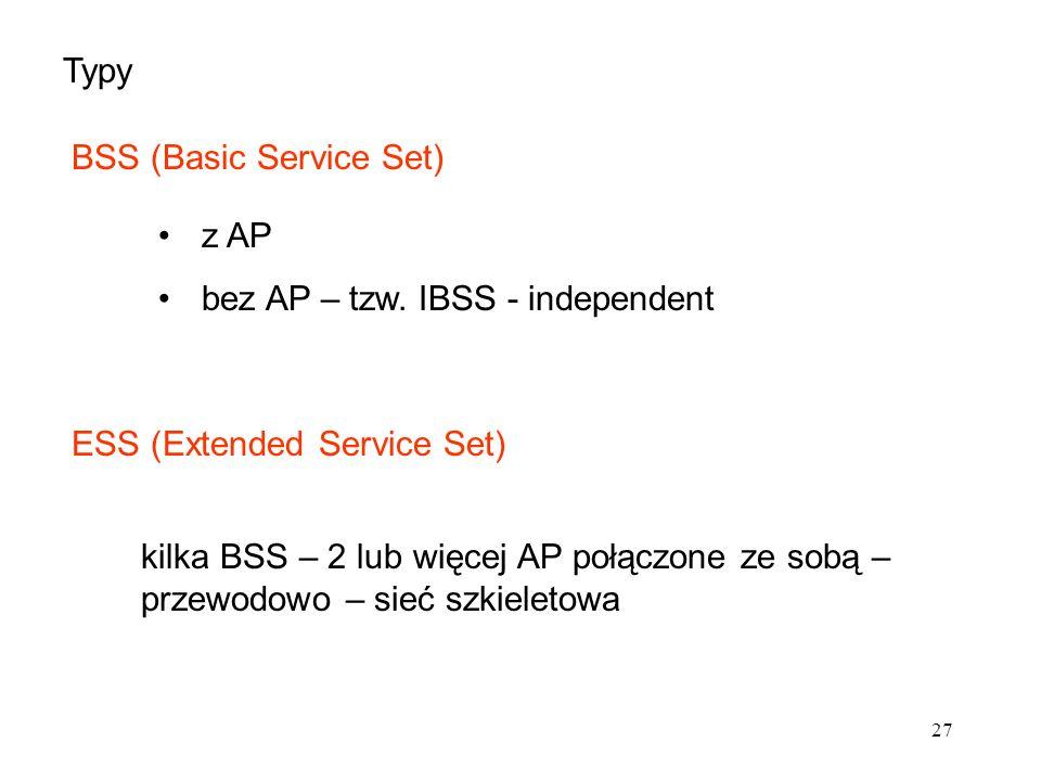 27 Typy BSS (Basic Service Set) z AP bez AP – tzw. IBSS - independent ESS (Extended Service Set) kilka BSS – 2 lub więcej AP połączone ze sobą – przew