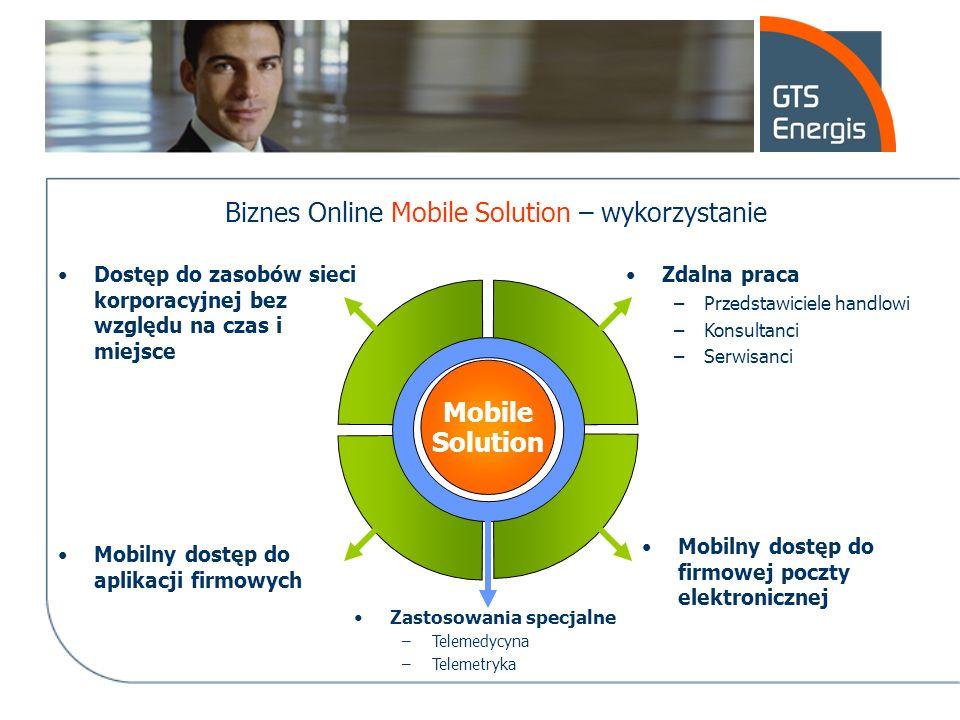 Biznes Online Mobile Solution – wykorzystanie Mobile Solution Dostęp do zasobów sieci korporacyjnej bez względu na czas i miejsce Zdalna praca –Przeds