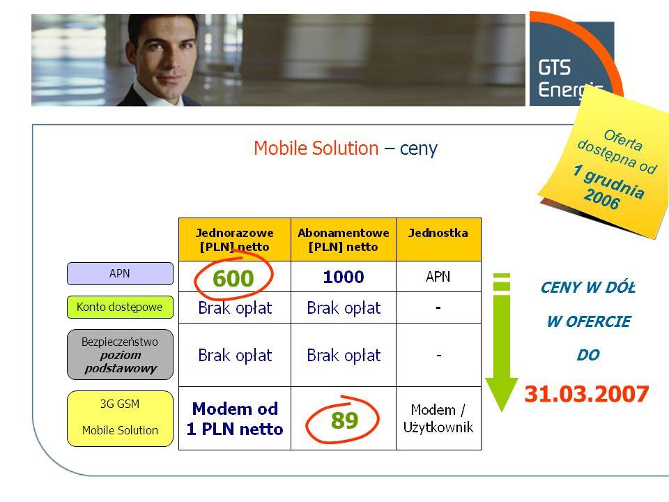 APN Konto dostępowe 3G GSM Mobile Solution Bezpieczeństwo poziom podstawowy 600 89 CENY W DÓŁ W OFERCIE DO 31.03.2007 Mobile Solution – ceny Oferta do