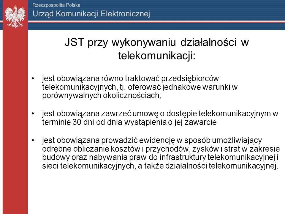 JST przy wykonywaniu działalności w telekomunikacji: jest obowiązana równo traktować przedsiębiorców telekomunikacyjnych, tj.