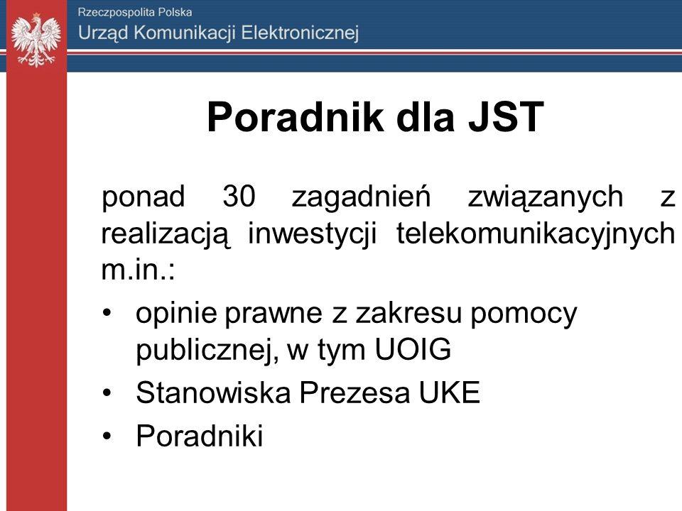 ponad 30 zagadnień związanych z realizacją inwestycji telekomunikacyjnych m.in.: opinie prawne z zakresu pomocy publicznej, w tym UOIG Stanowiska Prezesa UKE Poradniki