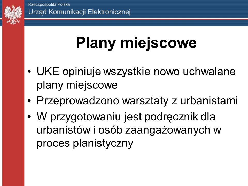 Plany miejscowe UKE opiniuje wszystkie nowo uchwalane plany miejscowe Przeprowadzono warsztaty z urbanistami W przygotowaniu jest podręcznik dla urbanistów i osób zaangażowanych w proces planistyczny