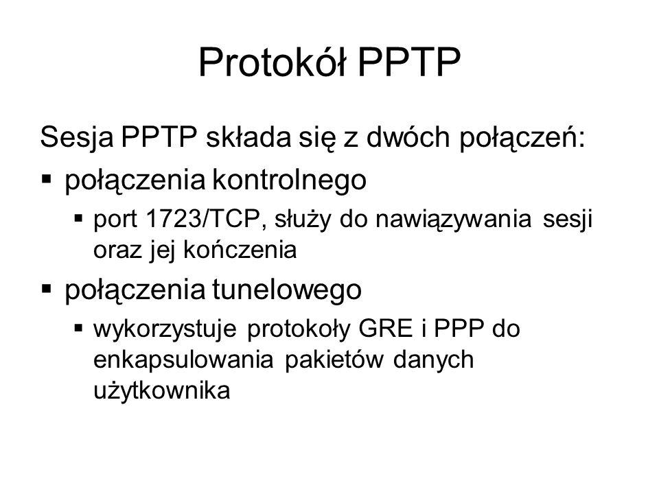 Protokół PPTP Sesja PPTP składa się z dwóch połączeń: połączenia kontrolnego port 1723/TCP, służy do nawiązywania sesji oraz jej kończenia połączenia tunelowego wykorzystuje protokoły GRE i PPP do enkapsulowania pakietów danych użytkownika