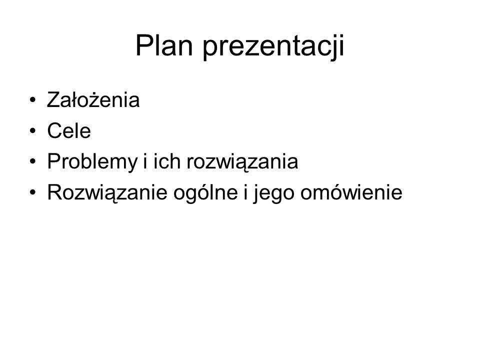 Plan prezentacji Założenia Cele Problemy i ich rozwiązania Rozwiązanie ogólne i jego omówienie