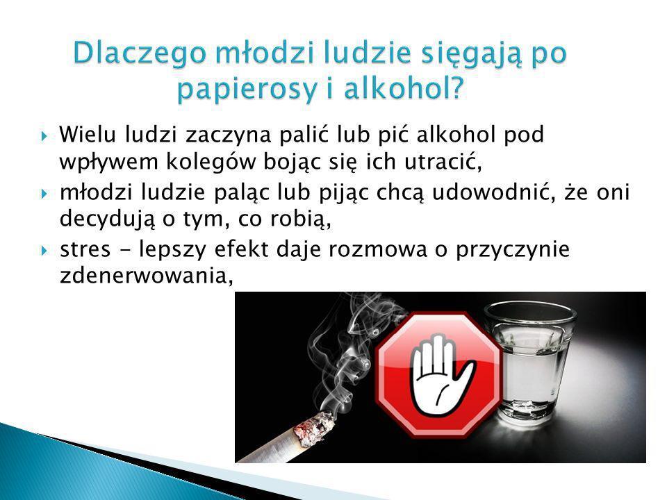 Dlaczego młodzi ludzie sięgają po papierosy i alkohol? Wielu ludzi zaczyna palić lub pić alkohol pod wpływem kolegów bojąc się ich utracić, młodzi lud