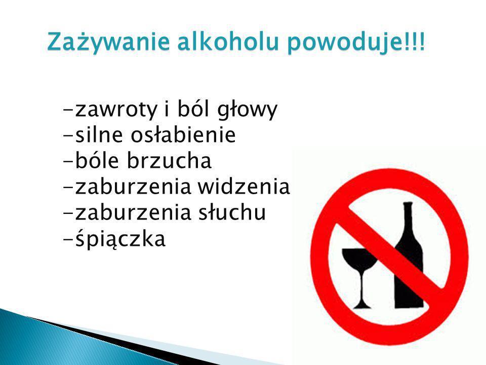 Zażywanie alkoholu powoduje!!! -zawroty i ból głowy -silne osłabienie -bóle brzucha -zaburzenia widzenia -zaburzenia słuchu -śpiączka
