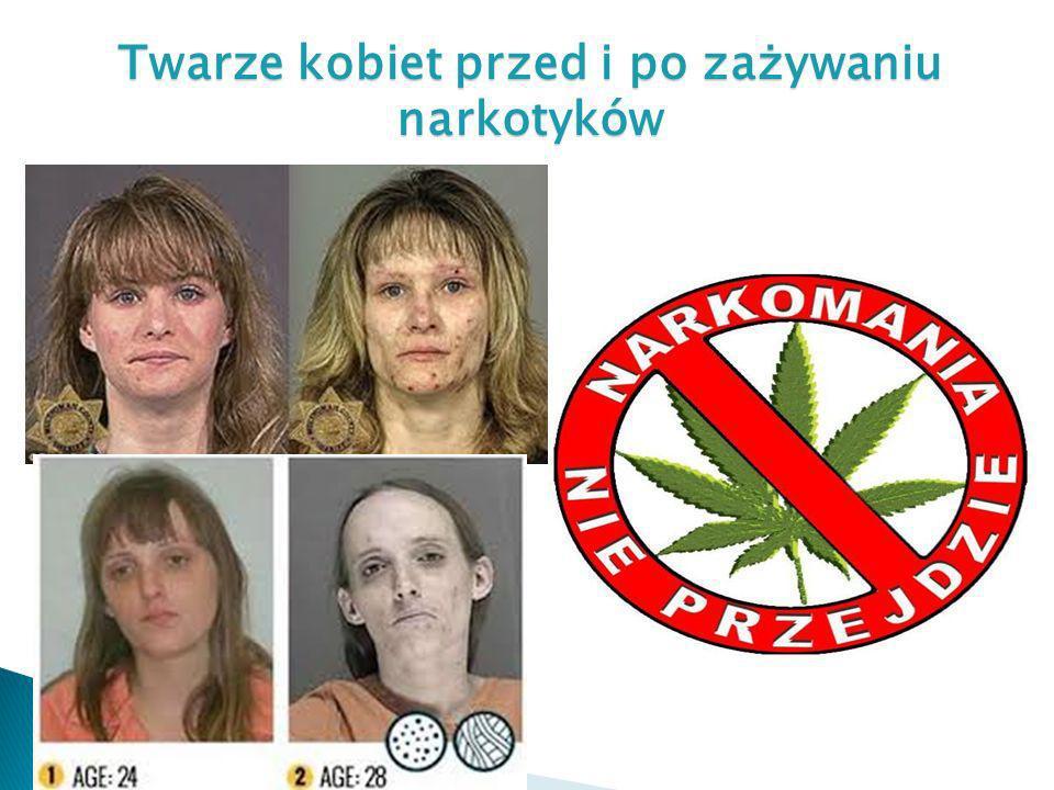 Twarze kobiet przed i po zażywaniu narkotyków