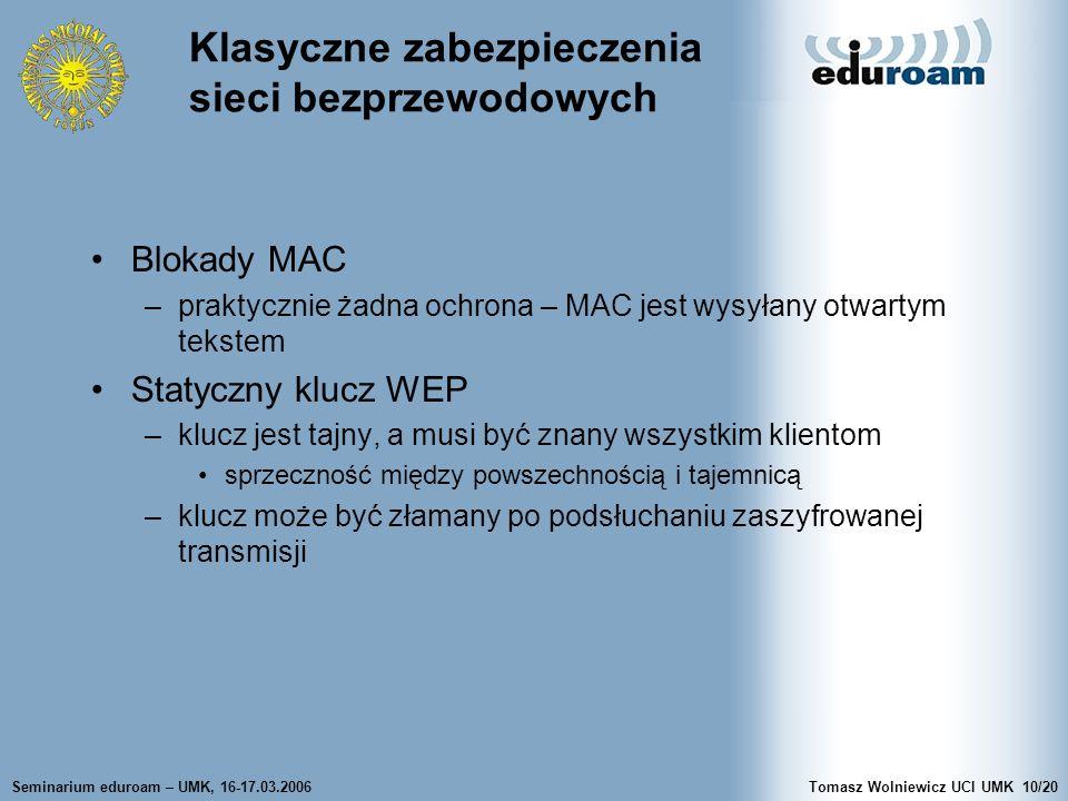 Seminarium eduroam – UMK, 16-17.03.2006Tomasz Wolniewicz UCI UMK10/20 Klasyczne zabezpieczenia sieci bezprzewodowych Blokady MAC –praktycznie żadna ochrona – MAC jest wysyłany otwartym tekstem Statyczny klucz WEP –klucz jest tajny, a musi być znany wszystkim klientom sprzeczność między powszechnością i tajemnicą –klucz może być złamany po podsłuchaniu zaszyfrowanej transmisji